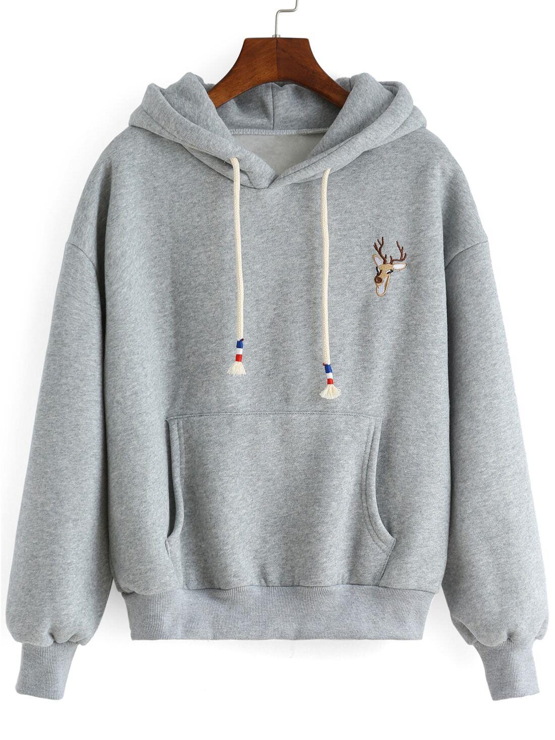 Sweatshirt  capuche avec broderie cerf grosFrench SheInSheinside