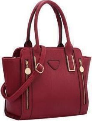Bright Red Zipper PU Shoulder Bag