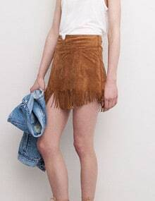 Camel Slim Tassel Bodycon Skirt