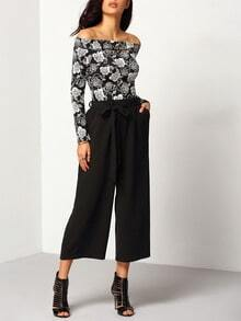 Black Elastic Waist Wide Leg Belt Pant
