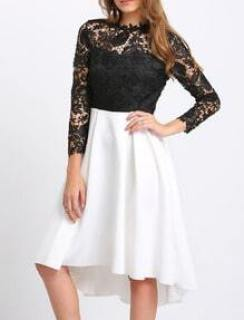 Black Lace Embroidered Contrast Hem Dress