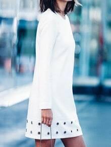 White Crew Neck Long Sleeve Eyelet Dress