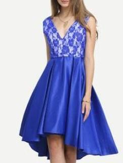 Blue Plunge V Back Pleated  Dress