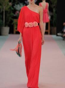 Vestido un hombro flores maxi -rojo
