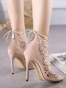 Nude Point Toe Cut-work Lace Up Pumps