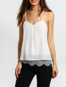 White Spaghetti Strap Eyelash Lace Cami Top