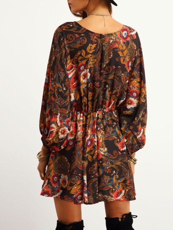 0c822fccbf23 Multicolor Lantern Sleeve Tribal Print Dress -shein Sheinside