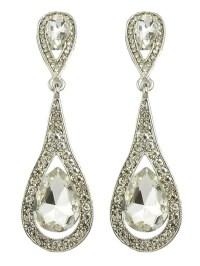 White Elegant Long Drop Earrings -SheIn(Sheinside)