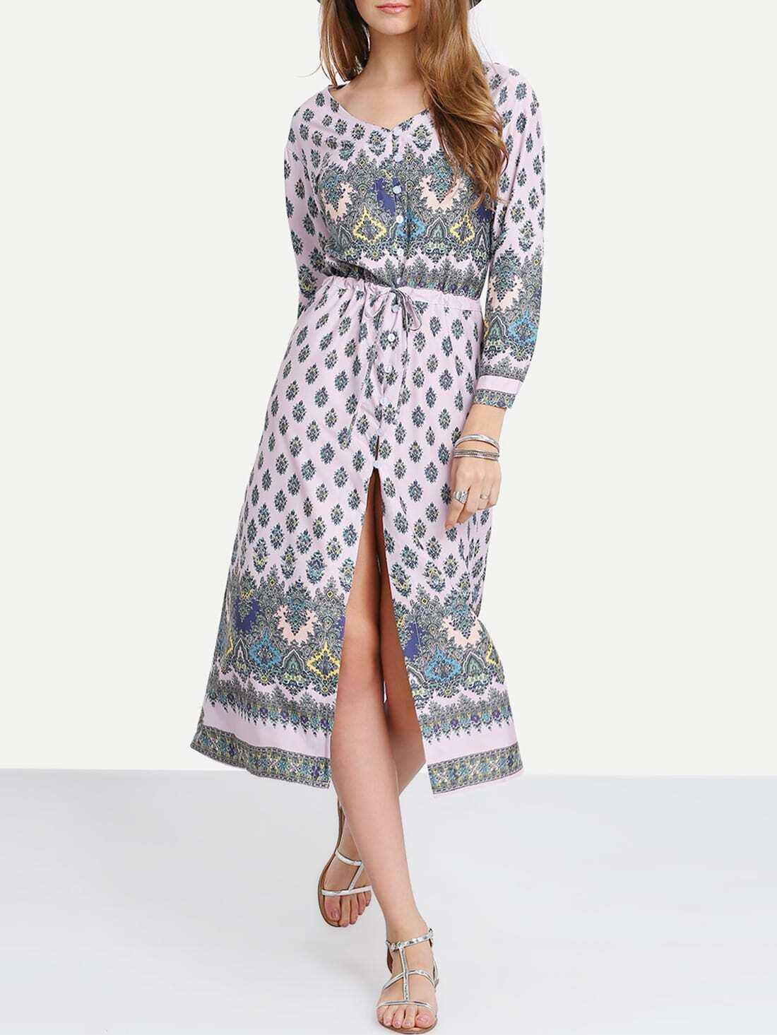 Pink Adjustable Sleeve And Waist Boho Dress