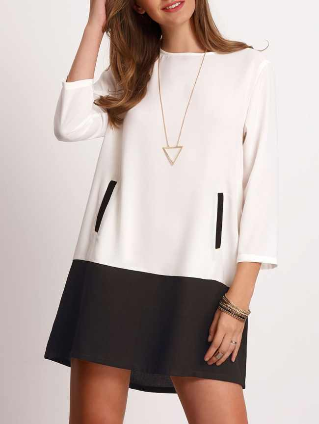 SheIn Color Block Buttoned Keyhole Back Dress With Pockets