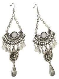 White Rhinestone Big Chandelier Earrings -SheIn(Sheinside)