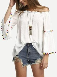White Off The Shoulder Colored Pompom Trim Blouse