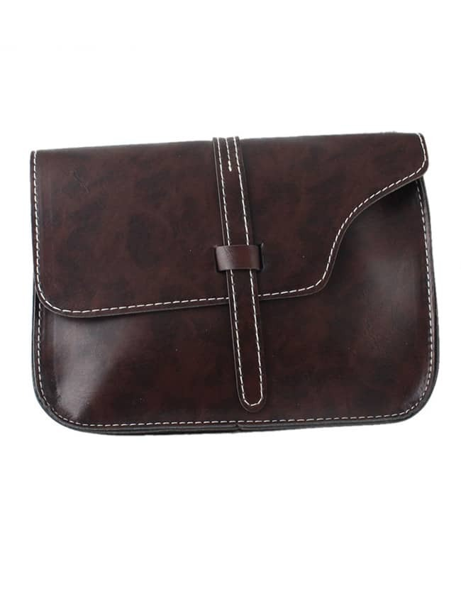 SheIn Coffee Pu Leather Straps Shoulder Bag