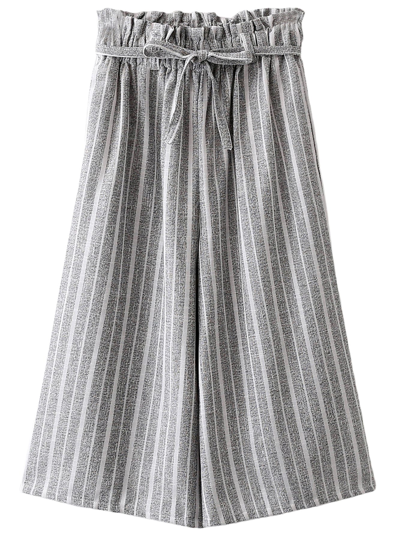 Grey Pockets Tie-waist Bow Vertical Stripe Wide Leg Pants -SheIn(Sheinside)
