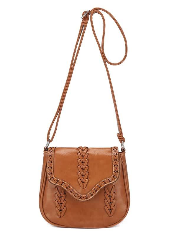 SheIn Braided Laser-Cut Flap Saddle Bag - Light Brown