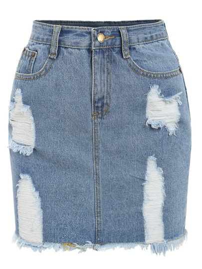 Frayed Denim Pencil Skirt -SheIn(Sheinside)