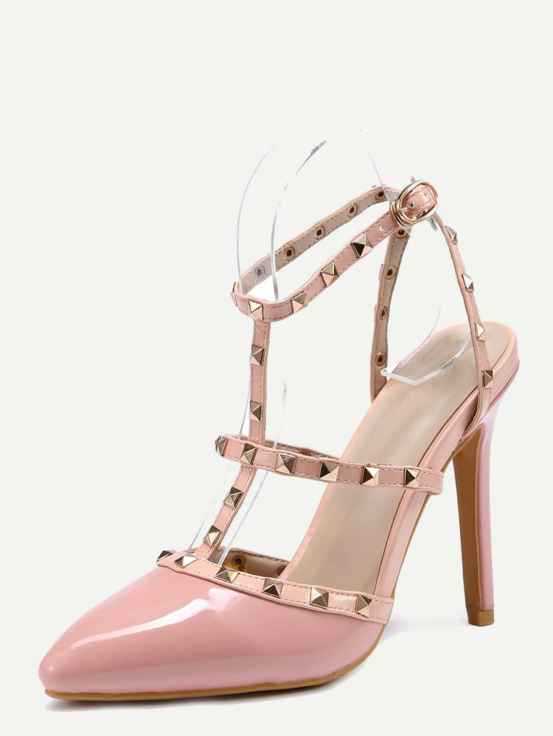 high heel shoe chair value city pink desk studded t strap pointed toe sandals shein