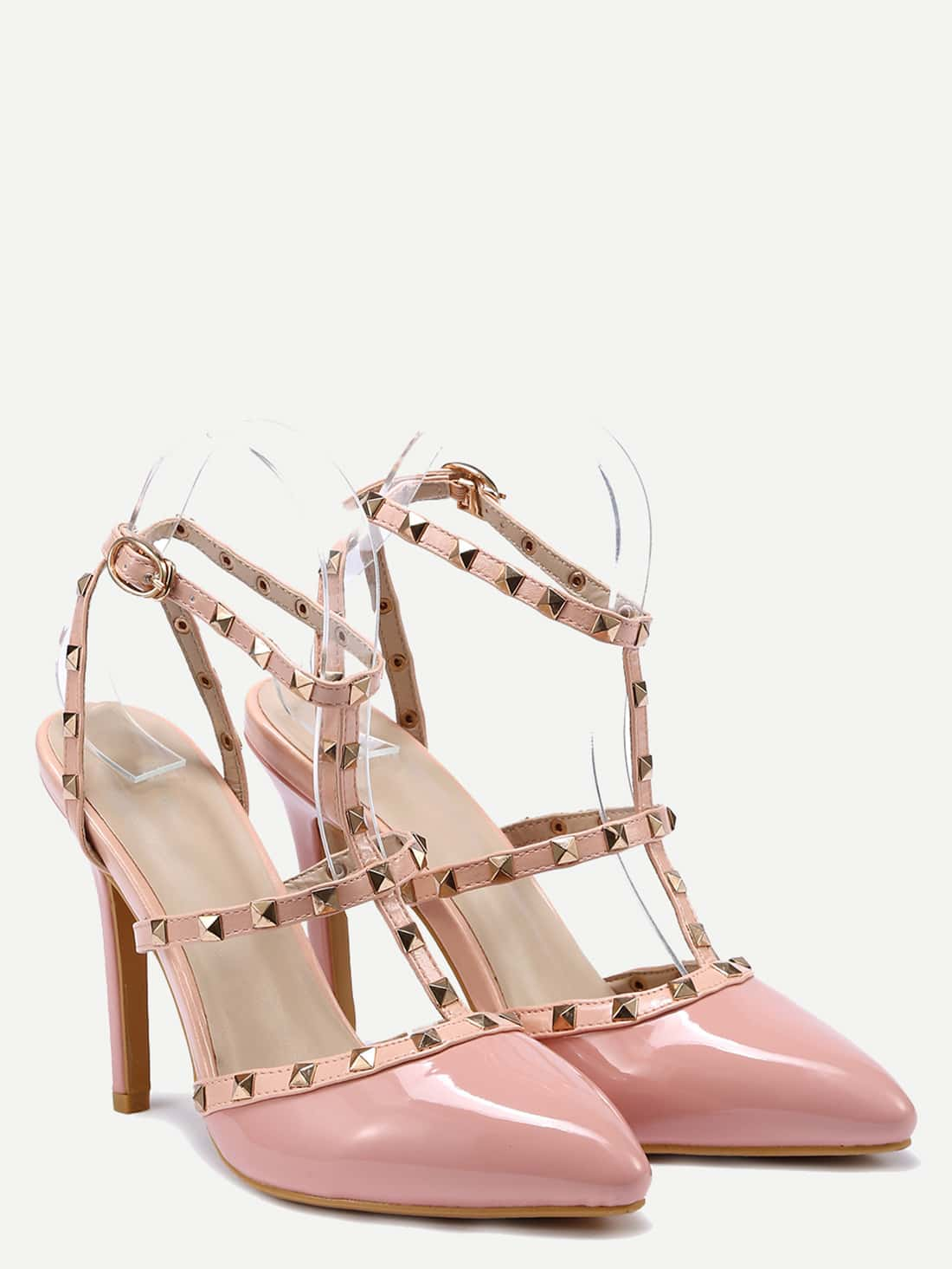 high heel shoe chair value city dining room covers green pink studded t strap pointed toe sandals shein