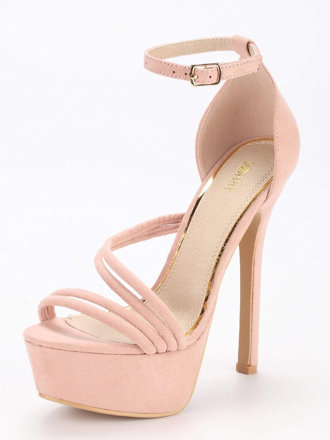 high heel shoe chair value city mat for hardwood floor staples pink strap platform sandals shein sheinside