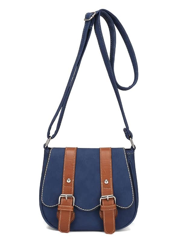 SheIn Contrast Dual Buckle Strap Saddle Bag