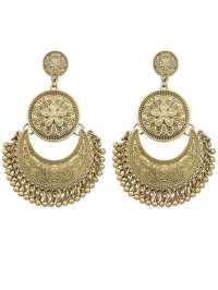 Gold Plated Big Chandelier Earrings -SheIn(Sheinside)