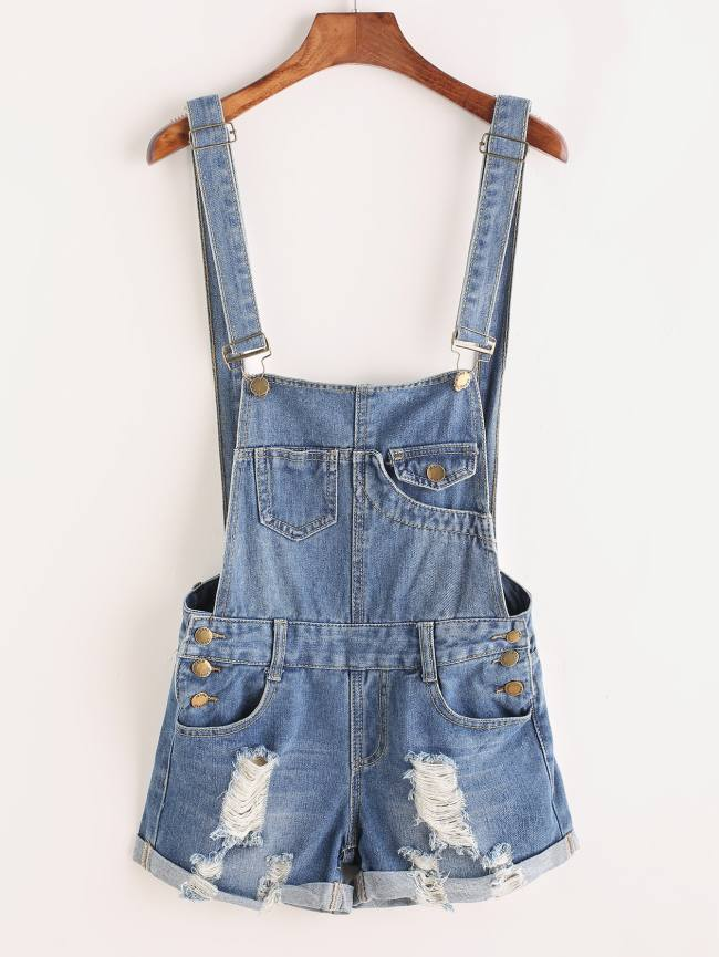 SheIn Distressed Rolled Hem Overall Denim Shorts