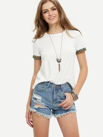 Camiseta manga corta bordada -beige