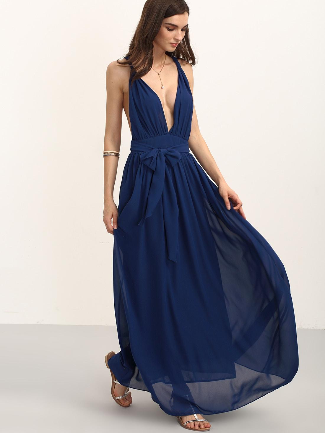 Robe longue col V sans manche avec ceinture  bleu marineFrench SheInSheinside
