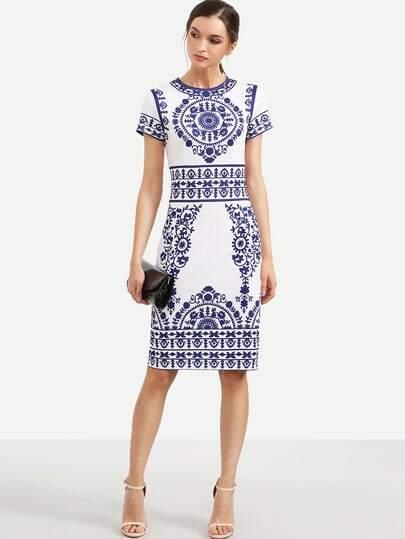 Blue Print in White Short Sleeve Sheath Dress