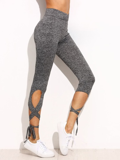 Light Grey High Waist Criss Cross Tie Leggings -SheIn(Sheinside)