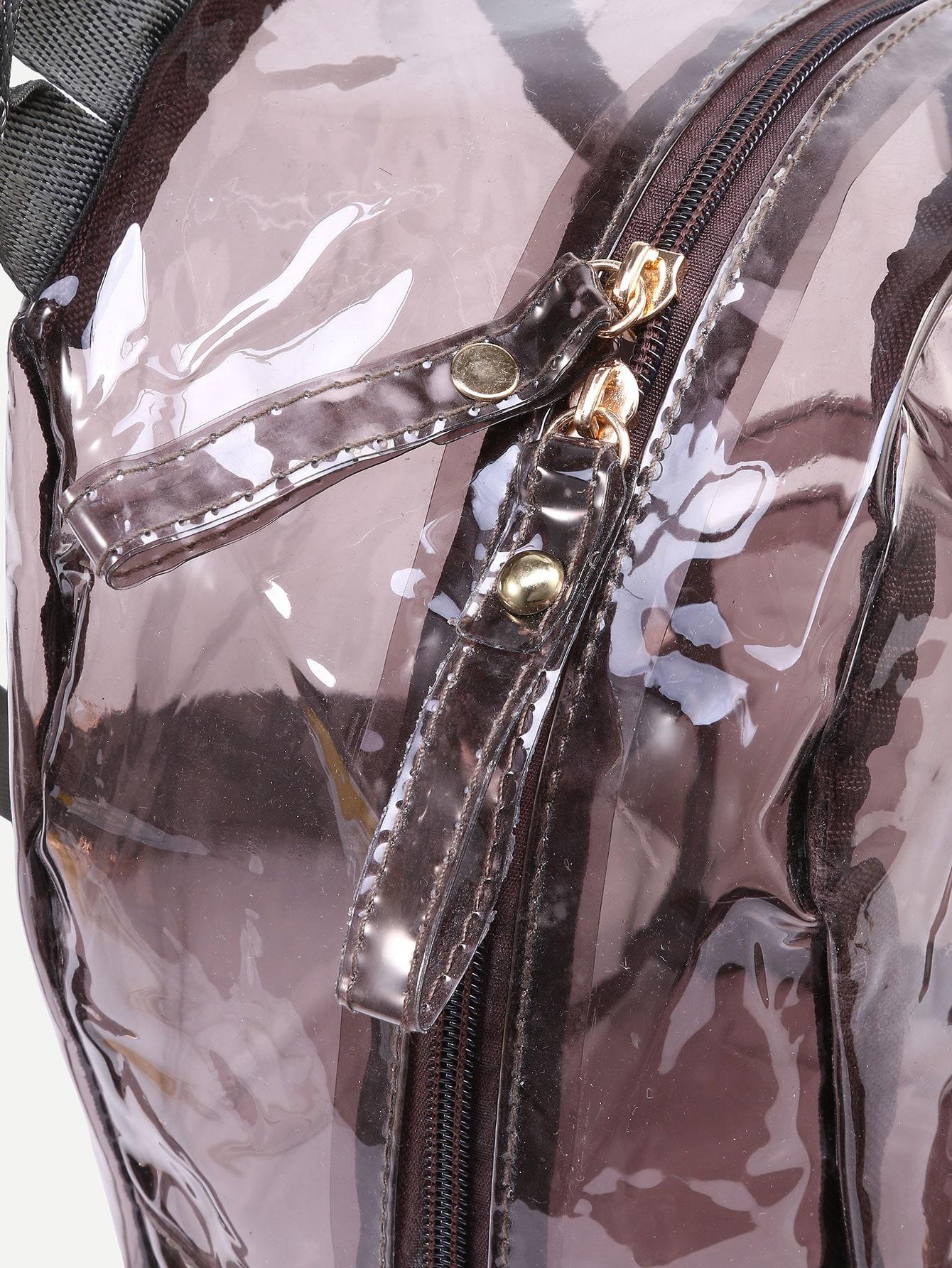 Sac  dos transparent avec poches French SheInSheinside