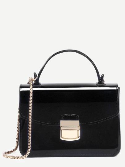 Bolso de mano plástico con cadena - negro