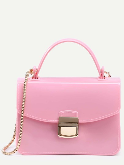 Bolso de mano plástico con cadena - rosa