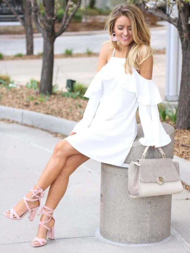 Vestido verano 2017 tendencias mini volantes blanco hombros mangas campana shein