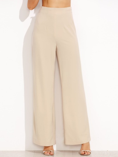 Pantalones rectos cintura alta cremallera lateral - albaricoque