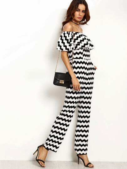 Black And White Chevron Print Ruffle Off The Shoulder Jumpsuit