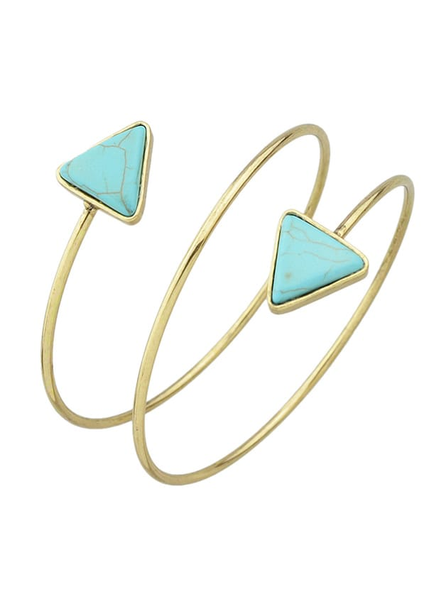 SheIn Antique New Imitation Turquoise Cuff Upper Arm Bracelet For Women