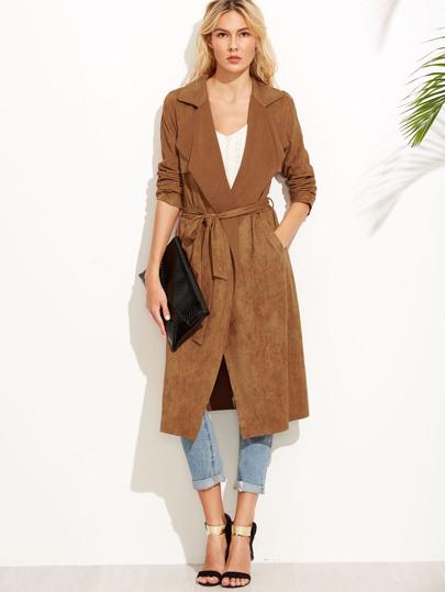 Veste en suédé avec lacet - brun