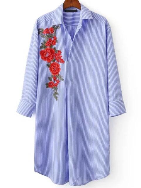 Blouse  rayure avec broderie floral  bleu French SheInSheinside