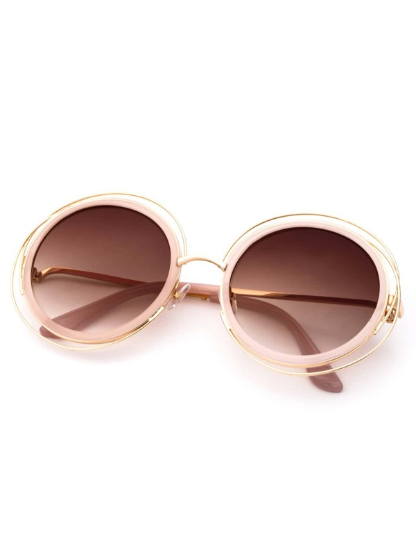 71a92633b4 Pink Frame Lens Sunglasses -shein Sheinside