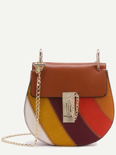 Bolso de cuero con solapa y cadena - color combinado