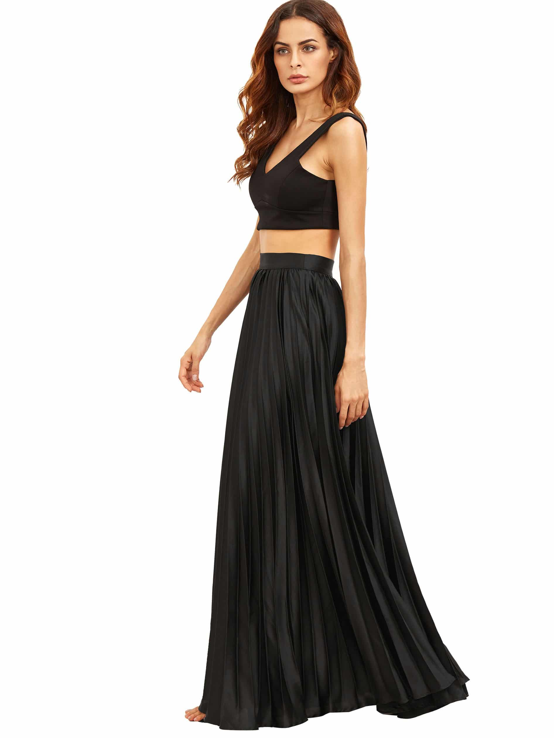 Pleated Flare Floor Length Skirt With Zipper Side SheIn