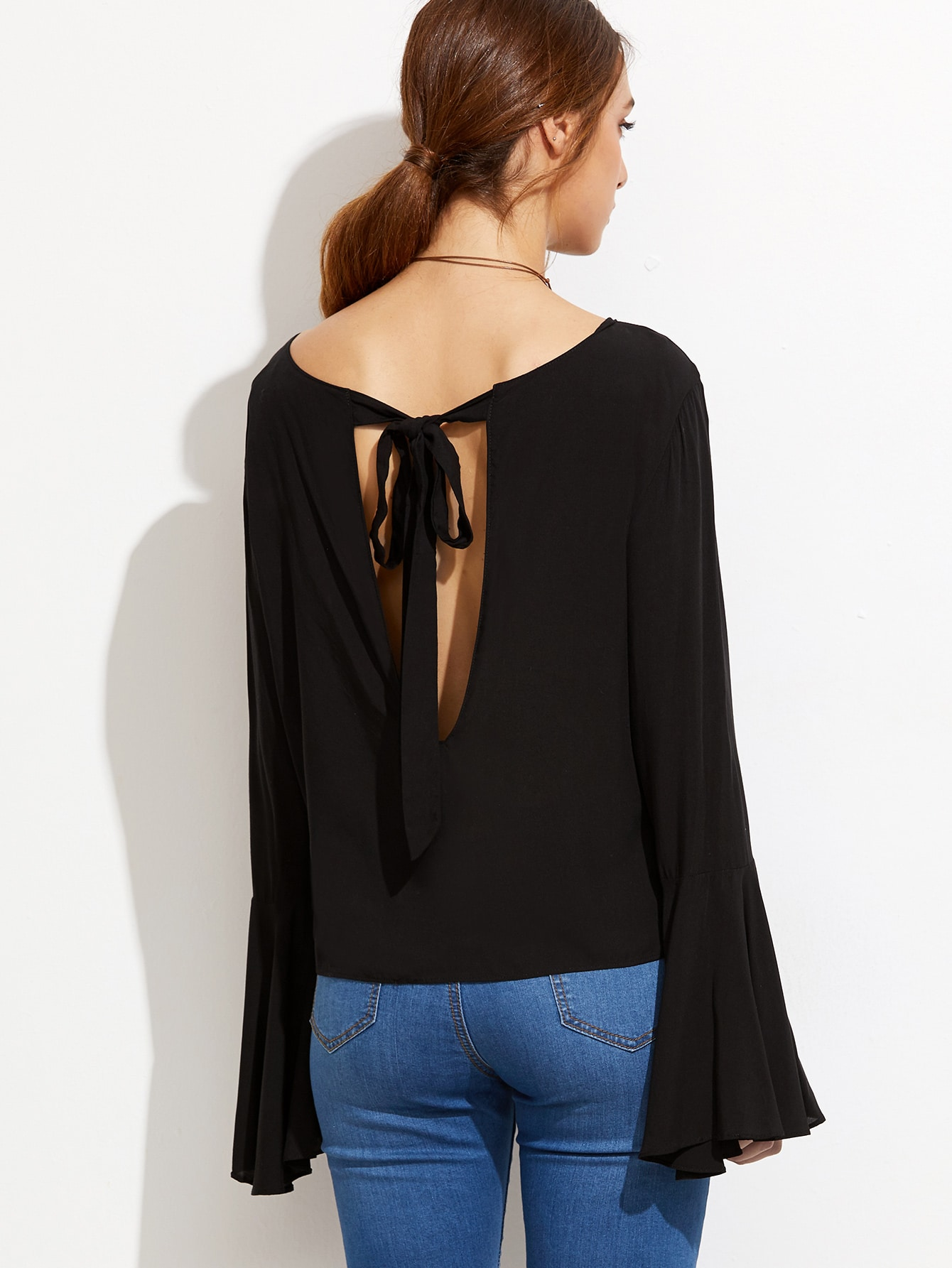Black Bell Sleeve Cut Out Back Blouse