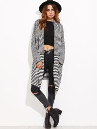 Black And White Striped Shawl Collar Sweater Coat -SheIn ...