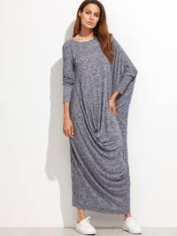 Marled Knit Draped Asymmetric Oversized Dress -SheIn ...
