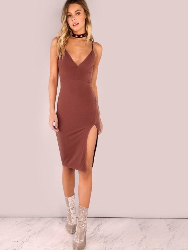 SheIn V Neckline Low Back Slit Side Dress