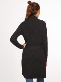 Black Ribbed Knit Shawl Collar Wrap Sweater Coat -SheIn ...