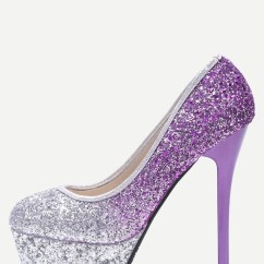 High Heel Shoe Chair Value City Old Ikea Covers Silver And Purple Sequin Platform Stiletto Pumps Shein