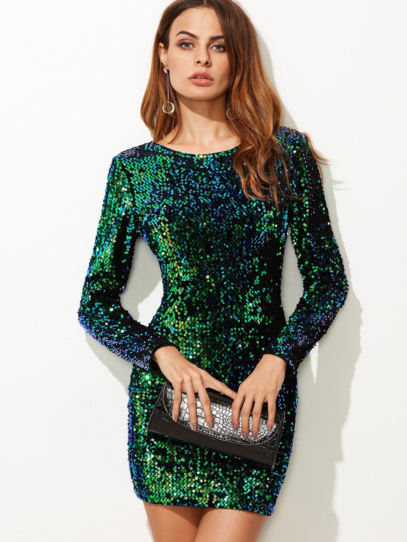 Green Iridescent Long Sleeve Sequin Bodycon Dress SheInSheinside