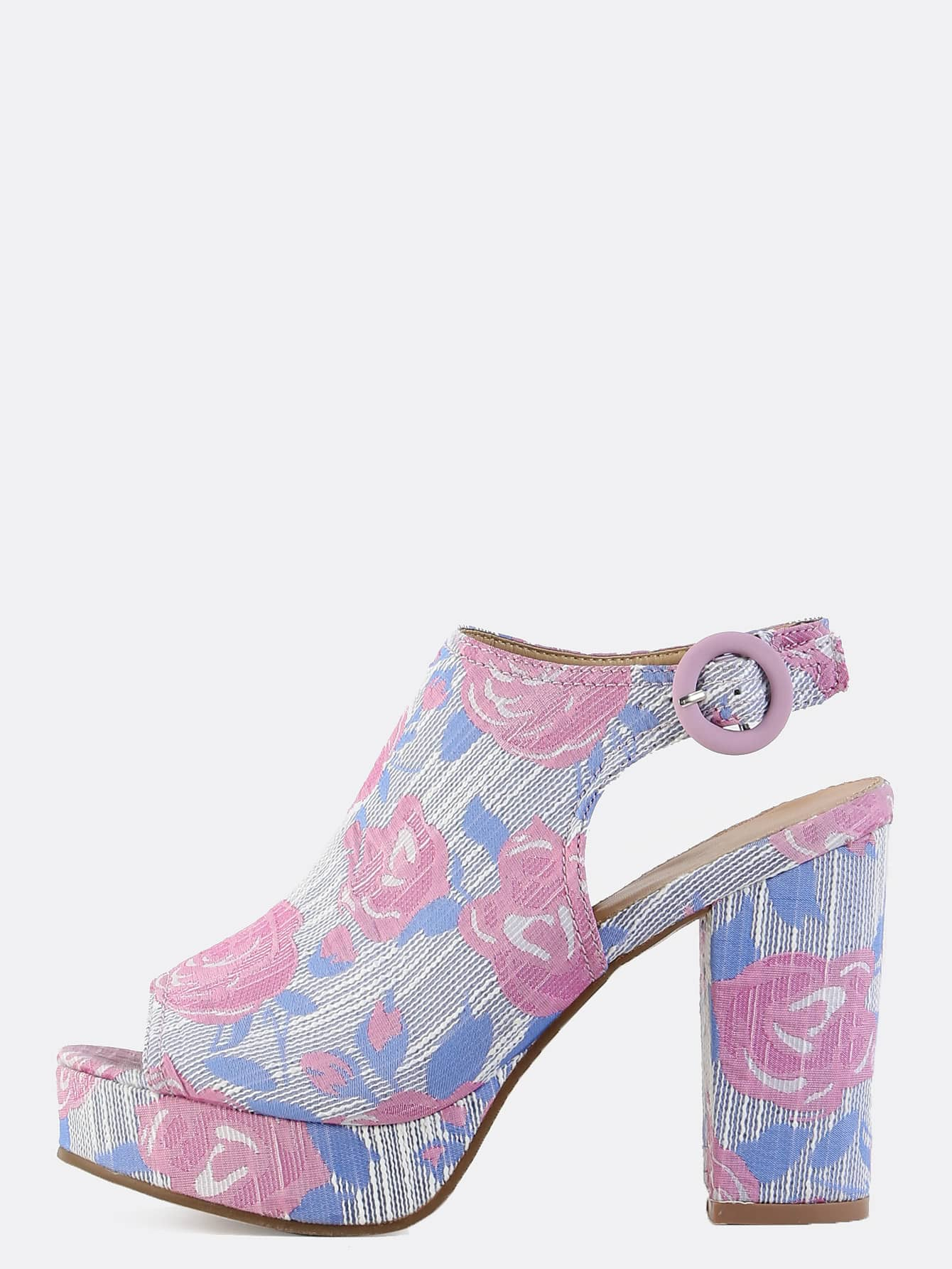 high heel shoe chair value city ghost stool slingback pastel floral chunky mules lavender shein